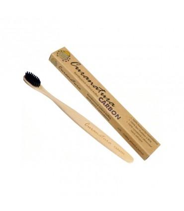 Bambusová zubná kefka Carbon