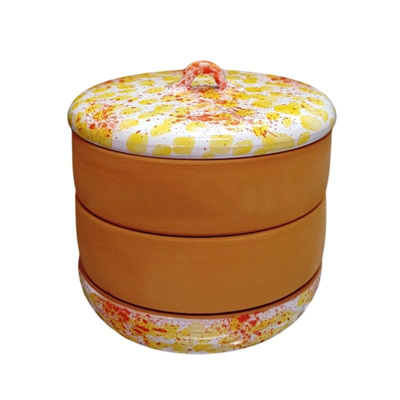 Nakličovacia miska keramická, rôzne farby žlto-oranžová