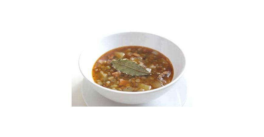 Šošovicová polievka s jačmeňom a hlivou
